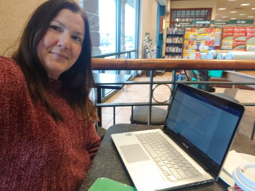 Jennifer Wielt writing at Barnes and Noble