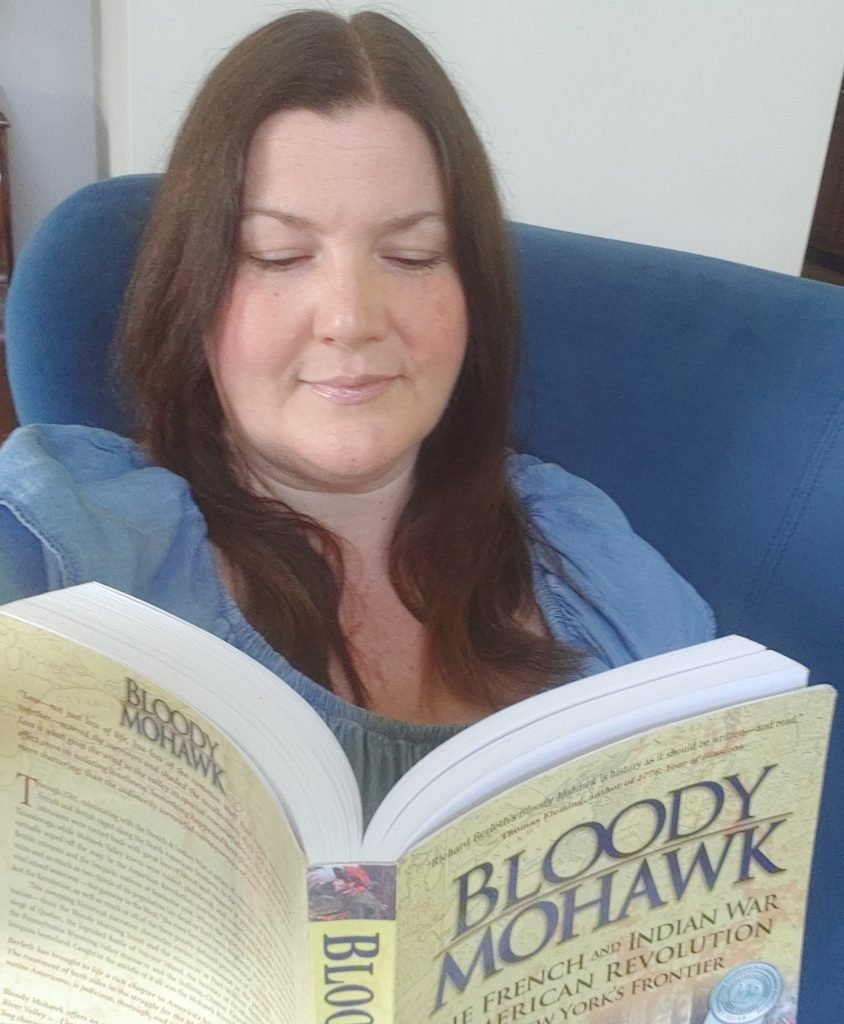 Me Reading Bloody Mohawk, by Richard Berleth