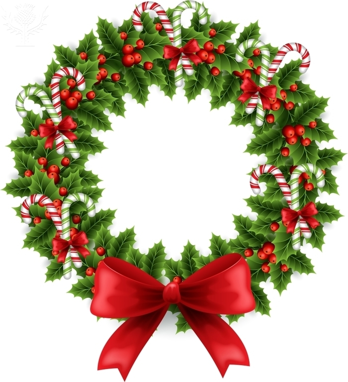 Christmas wreath with candy canes and berries