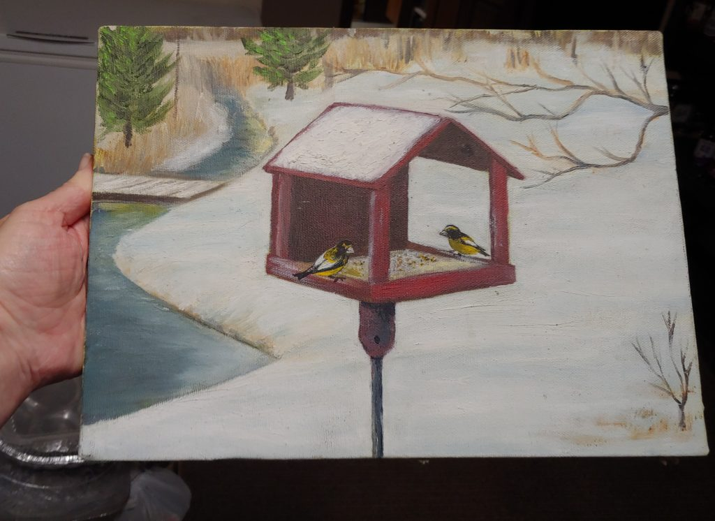 Mom's painting with Evening Grosbeaks