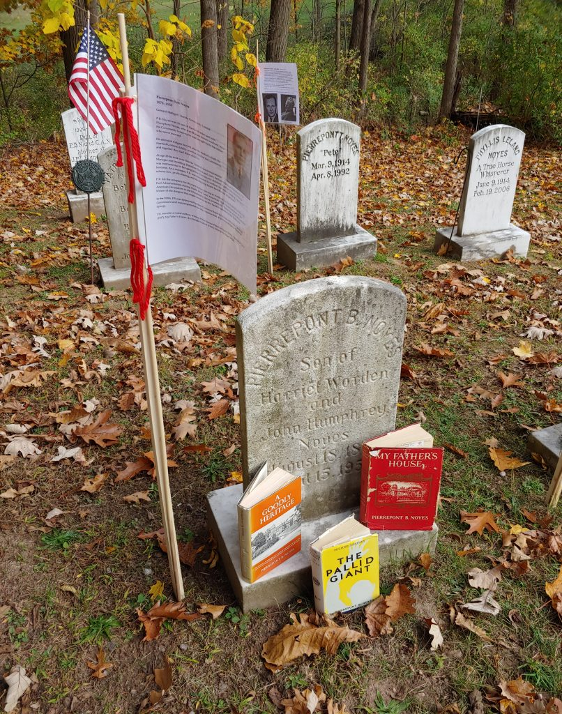 Oneida Community Cemetery Tour, Pierrepont Noyes' grave with books